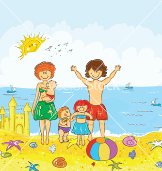 Free family at the beach vector - Free vector #258223