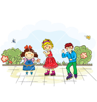 Free kids playing in the park vector - Free vector #258493
