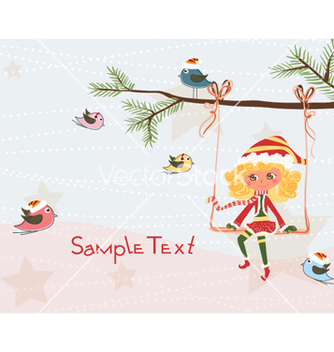 Free girl on a branch vector - vector gratuit #258503