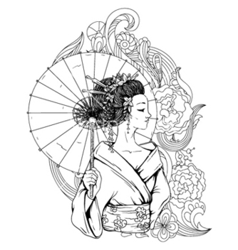 Free geisha with floral vector - Free vector #258963