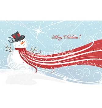 Free christmas background with snowman vector - бесплатный vector #259403