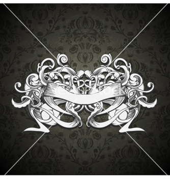 Free vintage emblem with ribbon and floral vector - Free vector #260323