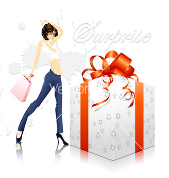 Free glamour girl with gift box vector - Kostenloses vector #260723