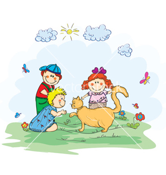 Free kids playing with a cat vector - vector gratuit #260833