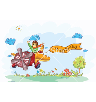Free cute kid flying with a plane vector - Free vector #261933