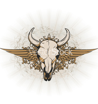Free vintage emblem with animal skull vector - vector #262103 gratis