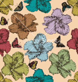 Free vintage seamless floral wallpaper vector - бесплатный vector #263273
