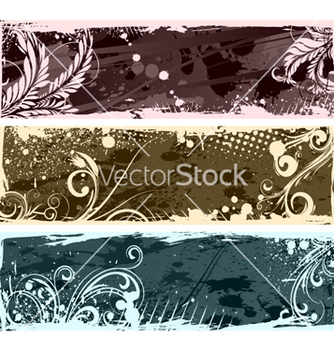 Free vintage floral banners set vector - Free vector #263753