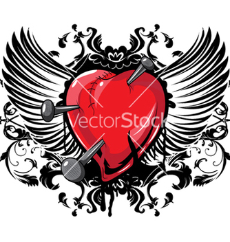Free heart with floral and wings vector - vector #263783 gratis