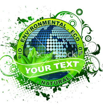 Free environmental label with globe vector - Kostenloses vector #266203