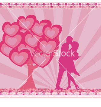 Free greeting card with silhouette of romantic couple vector - vector gratuit #266693