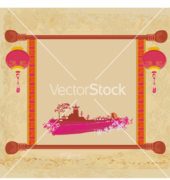 Free old paper with asian landscape vector - Free vector #266703