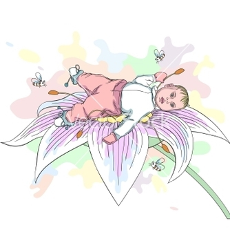 Free baby on the flower vector - Kostenloses vector #266803