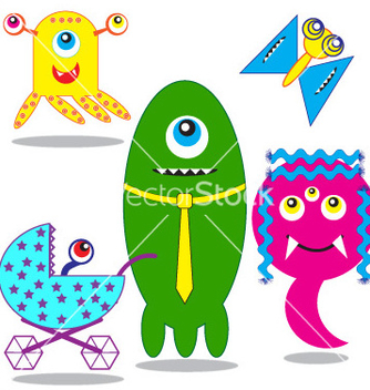 Free cute funny monsters family vector - Kostenloses vector #267033