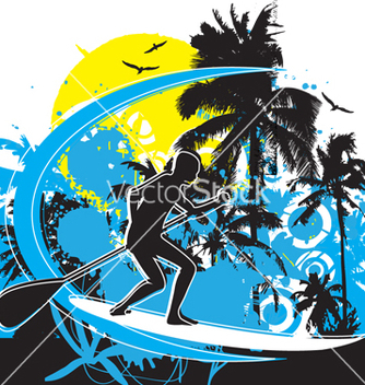 Free stand up paddle boarding vector - vector gratuit #267493