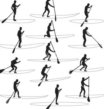 Free paddle boarding silhouettes vector - Free vector #267503