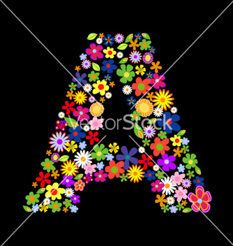 Free flower font letter a vector - Free vector #268723