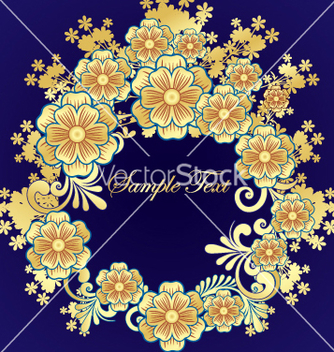 Free golden flower frame vector - Free vector #269823