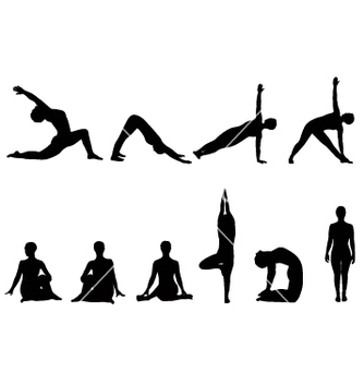 Free yoga silhouettes vector - Free vector #270933