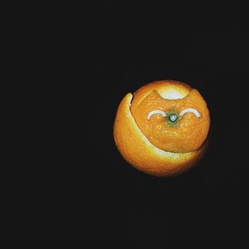 cat made of tangerine peel on a black background - бесплатный image #272253