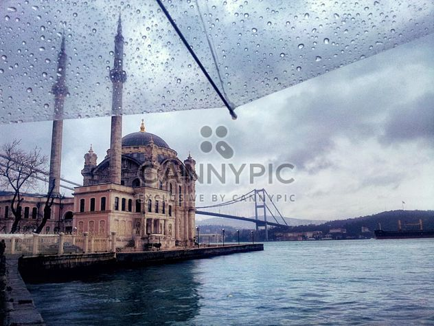 Ortakoy mosque in Istanbul on a rainy day - Free image #272323