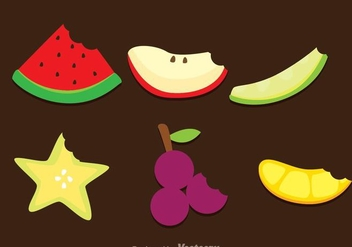 Slice Fruits Bite Mark Vectors - бесплатный vector #272473