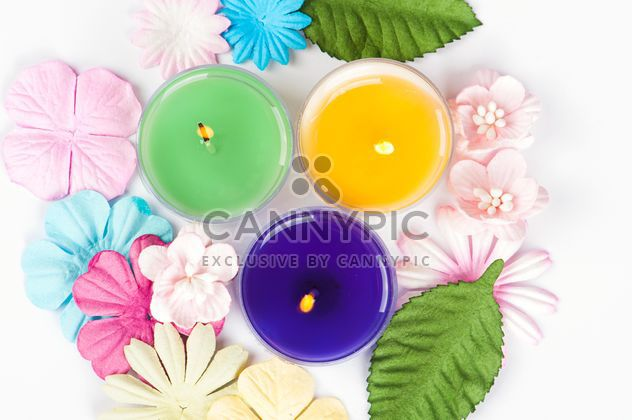 Colored candles and floral decorations - Free image #272533