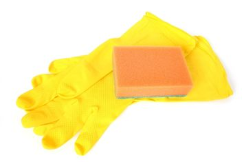 Rubber gloves and a sponge on a white background. #goyellow - image gratuit #272603