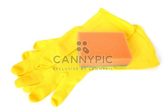 Rubber gloves and a sponge on a white background. #goyellow - image #272603 gratis