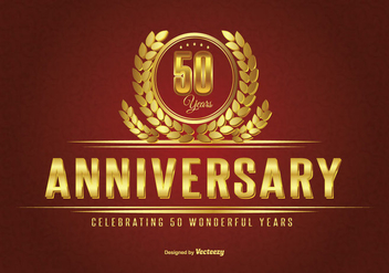 Golden Fifty Year Anniversary Illustration - Free vector #272673