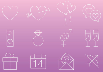 Thin Line Love Icon Vectors - vector #272723 gratis