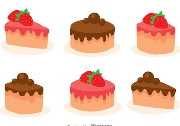 Stawberry And Choco Cake Slice - vector gratuit #272823