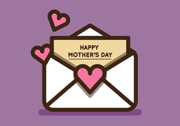 Cute Mother's Day Envelope Vectors - vector gratuit #272893