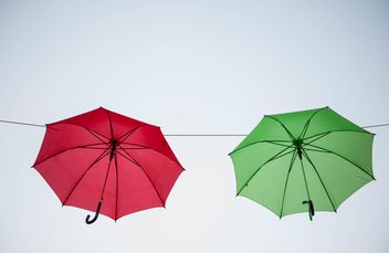 colored umbrellas hanging - бесплатный image #273093