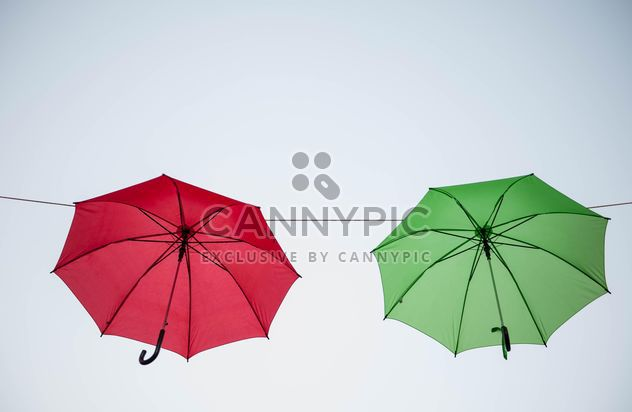 colored umbrellas hanging - image #273093 gratis