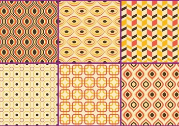 Retro Yellow & Coral Patterns - vector gratuit #273263