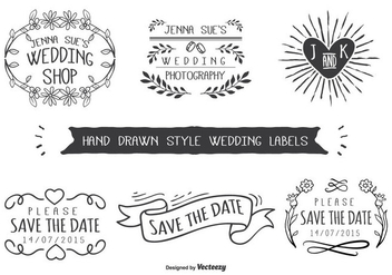 Hand Drawn Style Wedding Labels - Free vector #273293