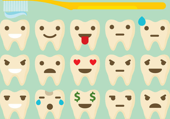 Tooth Emoticon Vectors - Free vector #273313