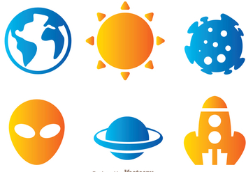 Space Object Icons - Free vector #273333