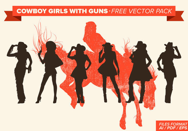 Cowboy Girls With Guns Silhouette Free Vector Pack - Free vector #273603