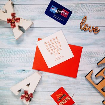 Cards and wooden letters - image #273913 gratis