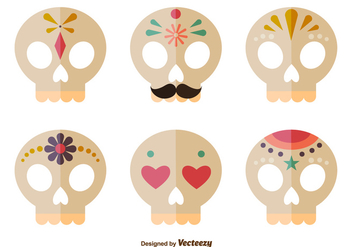 Day of the dead skulls - Free vector #273983
