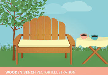Wooden Bench Vector Illustration - Free vector #274023