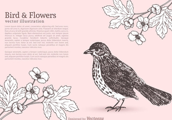 Free Bird And Flowers Vector - Kostenloses vector #274053