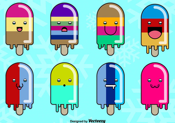 Cartoon smiley popsicles - Kostenloses vector #274113