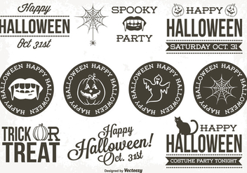 Retro Style Halloween Label Set - vector gratuit #274193