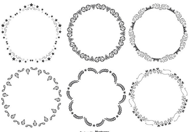 Cute Decorative Round Frames Set - Free vector #274253