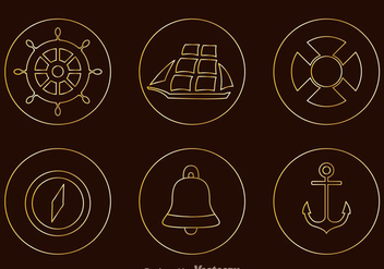 Nautical Tin Outline Icons - vector #274263 gratis