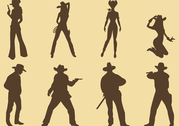 Cowgirls And Cowboy Silhouettes - vector gratuit #274343