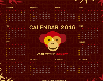 2016 Calendar with Moneky - vector #274483 gratis